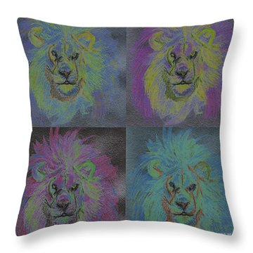 Lion X 4 Color  By Jrr Throw Pillow by First Star Art