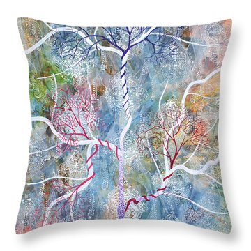 Lipid Branches Throw Pillow by Sumit Mehndiratta
