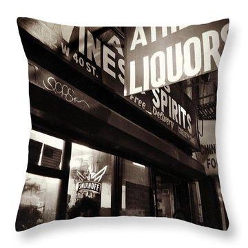 Liquor Shop - New York At Night Throw Pillow by Miriam Danar