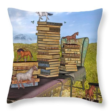Literary Levels Throw Pillow by Betsy Knapp