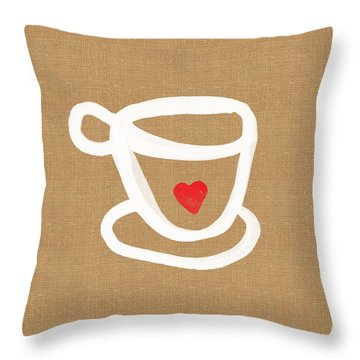Little Cup Of Love Throw Pillow by Linda Woods