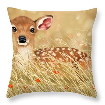 Little Fawn Throw Pillow by Veronica Minozzi