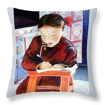 Little Girl From Mongolia Doing Her Homework Throw Pillow by Barbara Jacquin