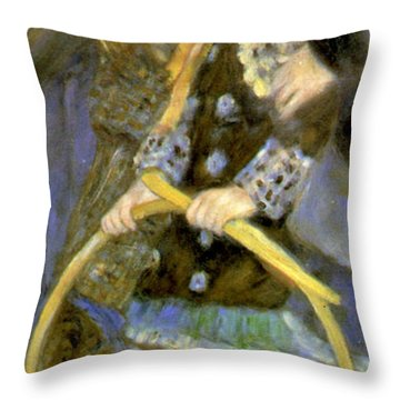 Little Girl With A Hoop Throw Pillow by Pierre Auguste Renoir