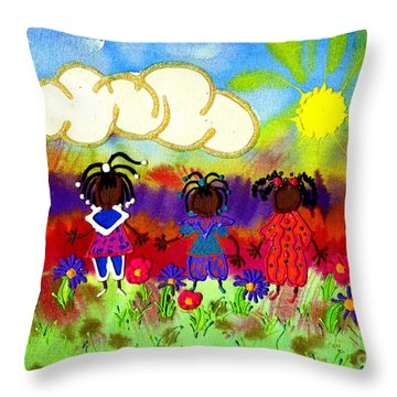 Little Girlfriends Throw Pillow by Angela L Walker