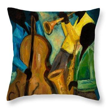 Little Jazz Trio IIi Throw Pillow by Larry Martin