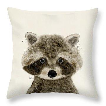 Little Raccoon Throw Pillow by Bri B