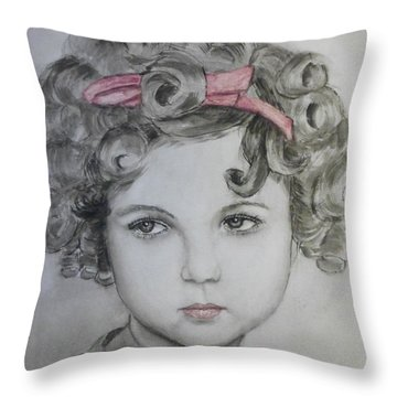 Little Shirley Temple Throw Pillow by Kelly Mills