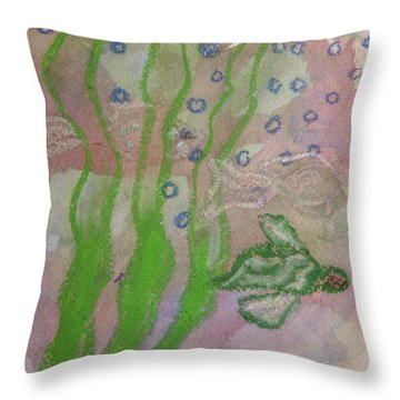 Little Turtle Finding His Way Throw Pillow by Claudia Smaletz