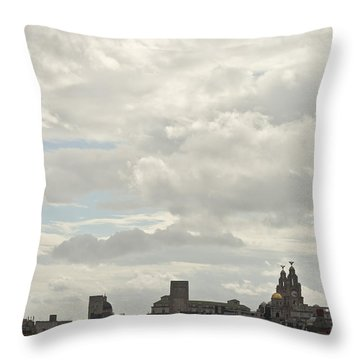 Liverpool Skyline Throw Pillow by Georgia Fowler