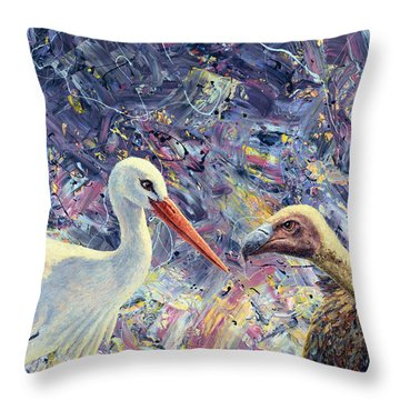 Living Between Beaks Throw Pillow by James W Johnson