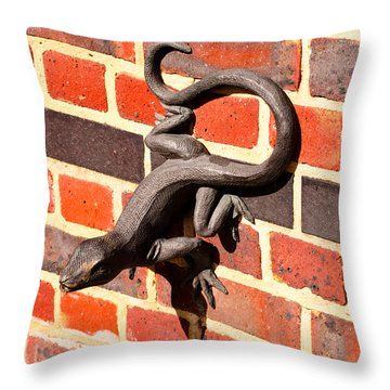 Lizard In The Sun Throw Pillow by Christi Kraft
