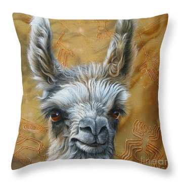 Llama Baby Throw Pillow by Jurek Zamoyski