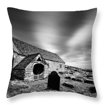 Llangelynnin Church Throw Pillow by Dave Bowman