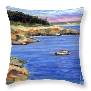 Lobster Boat In Jonesport Maine Throw Pillow by Pamela Parsons
