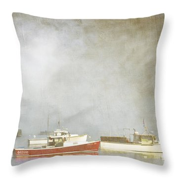 Lobster Boats At Anchor Bar Harbor Maine Throw Pillow by Carol Leigh