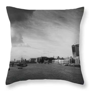 London City Panorama Throw Pillow by Pixel Chimp