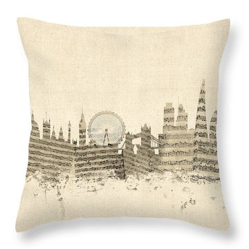 London England Skyline Sheet Music Cityscape Throw Pillow by Michael Tompsett