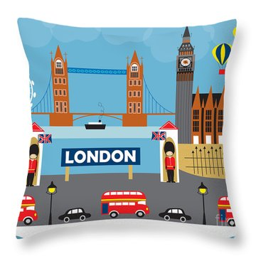 London England Skyline By Loose Petals Throw Pillow by Karen Young