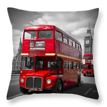 London Red Buses On Westminster Bridge Throw Pillow by Melanie Viola