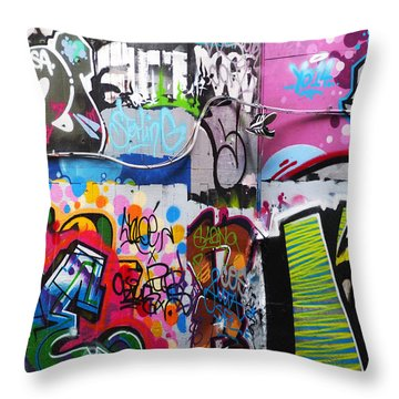 London Skate Park Abstract Throw Pillow by Rona Black
