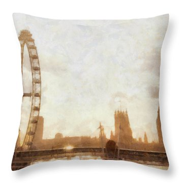 London Skyline At Dusk 01 Throw Pillow by Pixel  Chimp