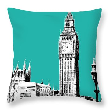 London Skyline Big Ben - Teal Throw Pillow by DB Artist