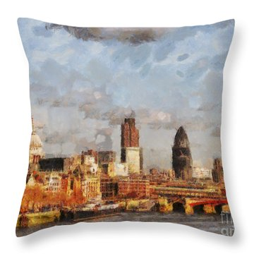 London Skyline From The River  Throw Pillow by Pixel Chimp