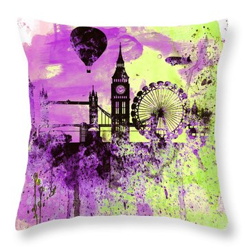 London Skyline Watercolor 1 Throw Pillow by Naxart Studio