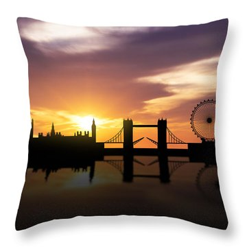 London Sunset Skyline  Throw Pillow by Aged Pixel