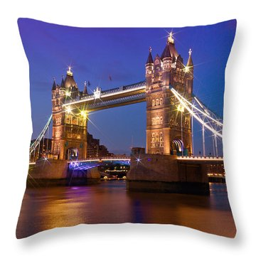 London - Tower Bridge During Blue Hour Throw Pillow by Melanie Viola