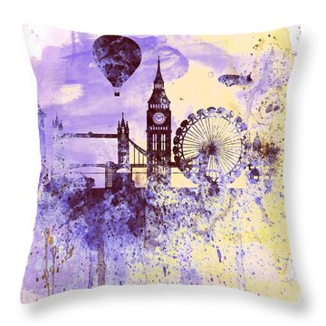 London Watercolor Skyline Throw Pillow by Naxart Studio