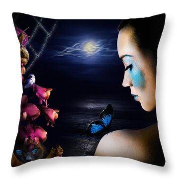 Lonely Blue Princess And The Villains Throw Pillow by Alessandro Della Pietra