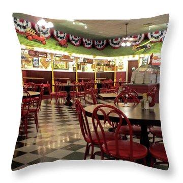 Lonely Cafe Throw Pillow by Thomas Woolworth