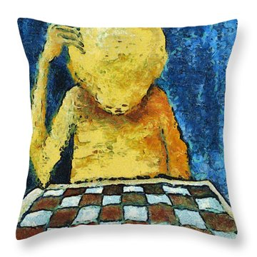 Lonesome Chess Player Throw Pillow by Michal Boubin