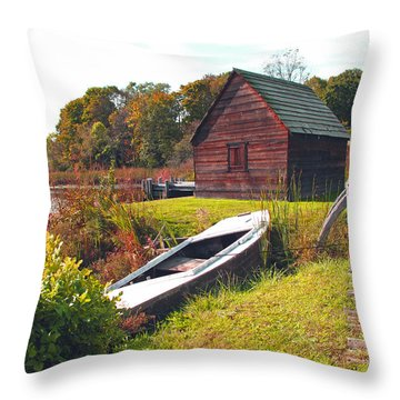 Long Ago Along The Marsh Throw Pillow by Barbara McDevitt