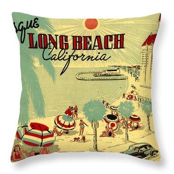 Long Beach 1946 Throw Pillow by Georgia Fowler