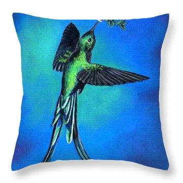 Long Tail Sylph  Throw Pillow by Sherri Strikwerda