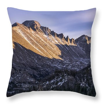Longs Peak Sunset Throw Pillow by Aaron Spong