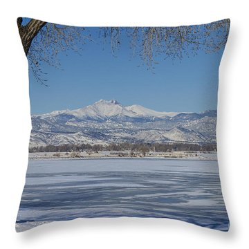 Longs Peaks Winter Landscape View Throw Pillow by James BO  Insogna