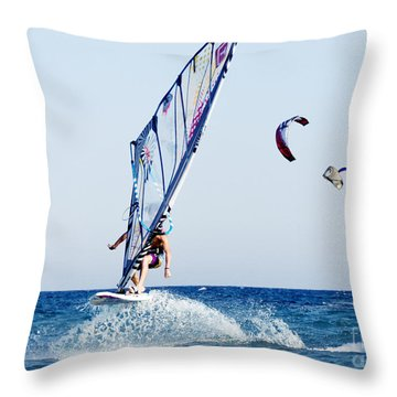 Look No Hands Throw Pillow by Stelios Kleanthous