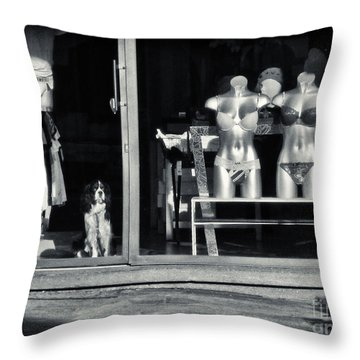 Looking Out The Shoppe Throw Pillow by Silvia Ganora