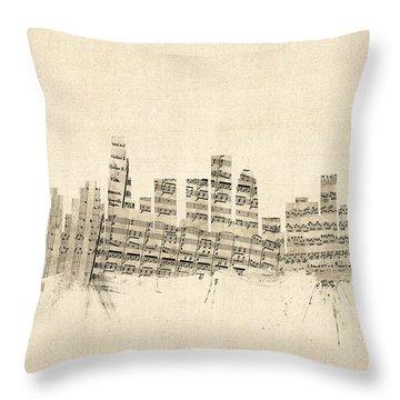 Los Angeles California Skyline Sheet Music Cityscape Throw Pillow by Michael Tompsett
