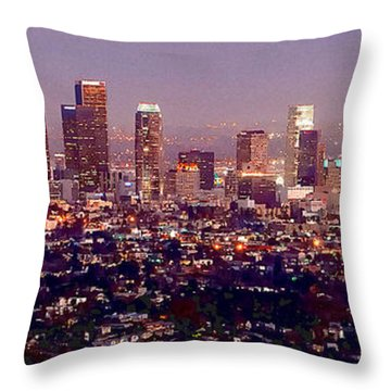Los Angeles Skyline At Dusk Throw Pillow by Jon Holiday