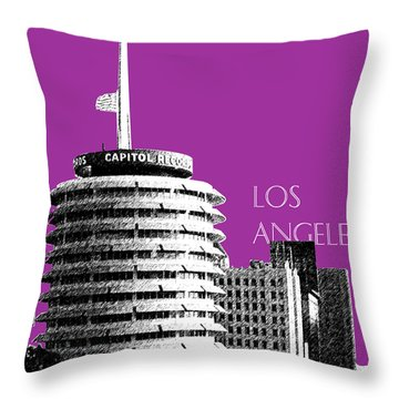 Los Angeles Skyline Capitol Records - Plum Throw Pillow by DB Artist