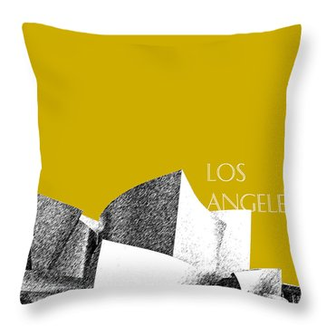 Los Angeles Skyline Disney Theater - Gold Throw Pillow by DB Artist
