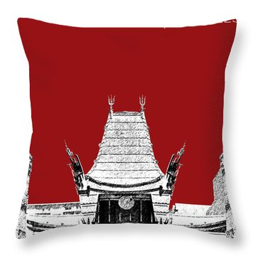 Los Angeles Skyline Graumans Chinese Theater - Dark Red Throw Pillow by DB Artist