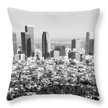Los Angeles Skyline Panorama Photo Throw Pillow by Paul Velgos