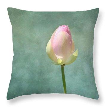Lotus Flower Bud Throw Pillow by Kim Hojnacki