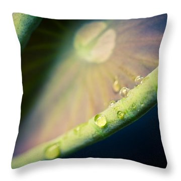 Lotus Leaf Unfurling Throw Pillow by Priya Ghose